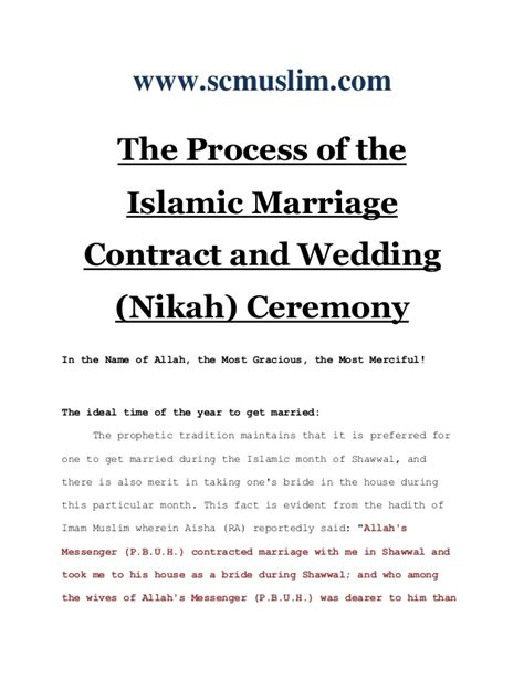 the process of the islamic marriage contract and wedding