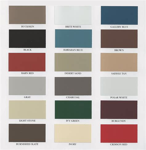 metal siding colors metal roofing siding color chart images