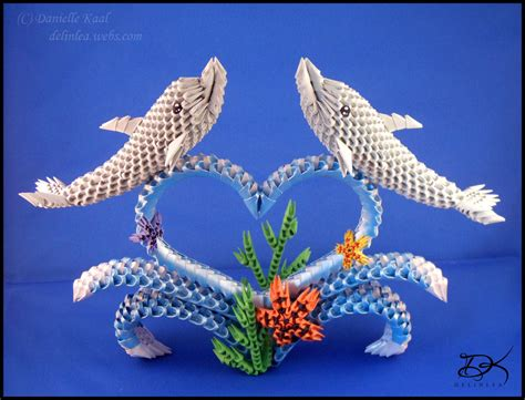 3d Origami Animals - dolphins 3d origami by delinlea on deviantart