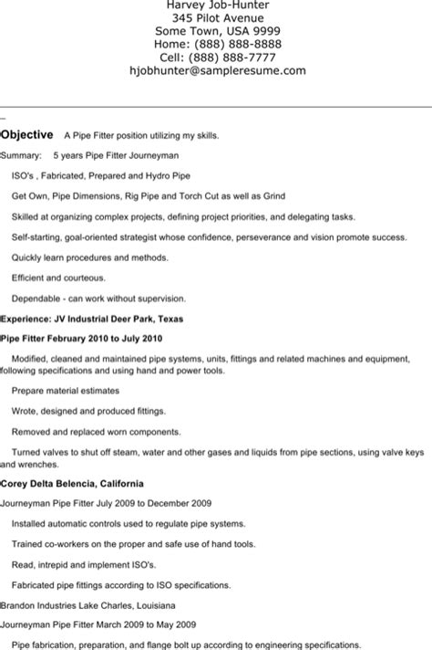 Pipefitter Resume by Pipefitter Resume Templates For Free Formtemplate