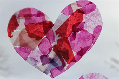 tissue paper crafts for adults s day card stained glass hearts