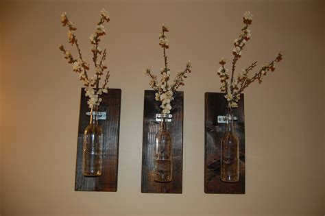 Kitchen Centerpiece Ideas by Wine Bottle Wall Art Wall Vase Handmade By Bloominghomedesigns