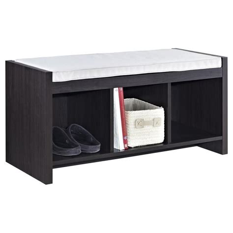 cubby bench with cushion 3 cubby wood storage bench in espresso with cushion 7522196