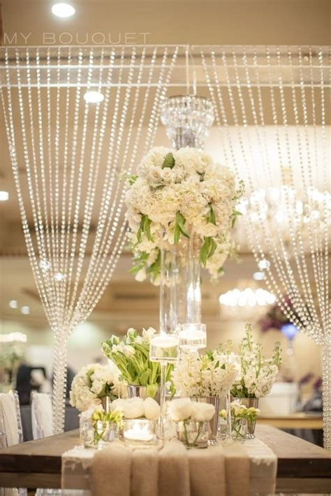 sparkler Inspired Wedding Centerpieces   Crystal curtain