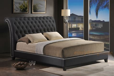 King Platform Bed Frame With Headboard Black Faux Leather Tufted King Platform Bed Scrollback Headboard Nail