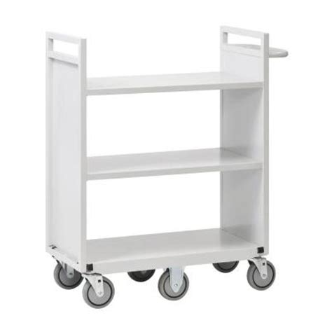 buddy products 36 in w flat 3 shelf cart with 6 wheels