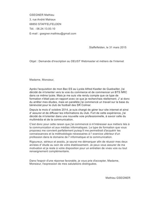 Exemple Lettre De Motivation Apb Iut Exemple Lettre Motivation Webmaster