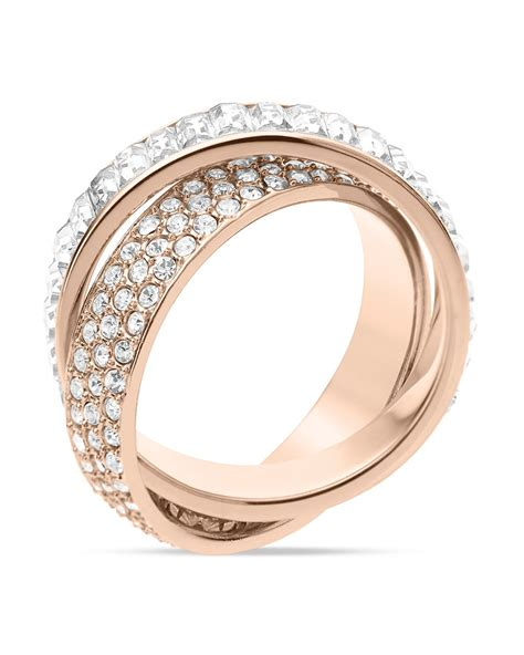 Michael Kors Ring by Michael Kors Baguette Band Intertwined Ring In Pink