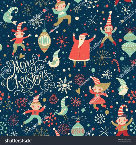 pattern merry christmas stylish merry christmas seamless pattern santa stock