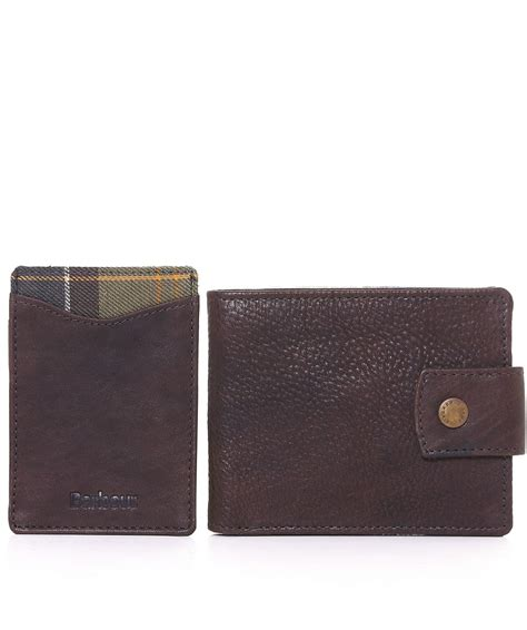 Barbour Gift Card - barbour dark brown leather wallet card holder gift set jules b