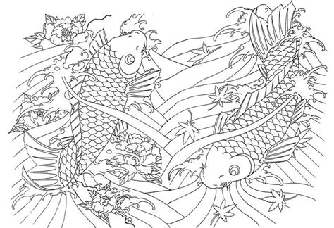 japanese garden coloring page adult coloring page japan japan huge fishes 11