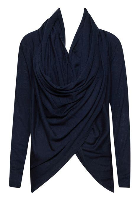 drape wrap around sweater alice olivia drape wrap around sweater in blue lyst