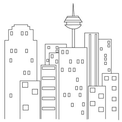 how to draw a city simple cityscapes building drawing puppy and