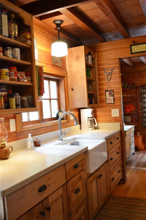Floor Plans Small Cabins by Rustic Cabin Galley Kitchen Rustic Kitchen