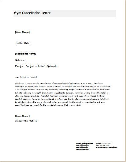 Letter Template To Cancel Membership by Cancellation Letter Templates For Ms Word Document Templates