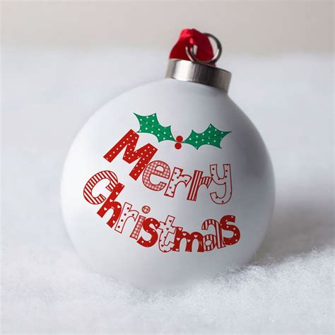 personalised bone china bauble christmas holly