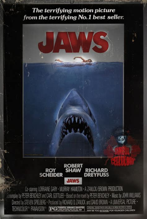 Kaos Keren Jaws 1975 Shark Classic grindhouse gothique the shark never worked better jaws 1975