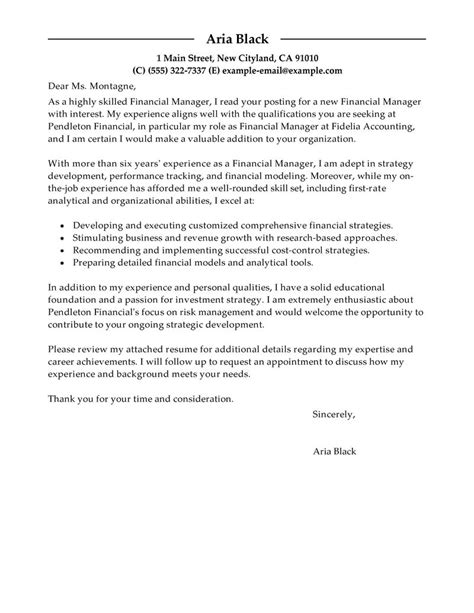 Cover Letter Format For Finance Manager cover letter finance manager sle thesiscompleted web