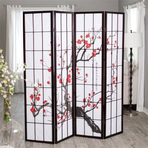 Ck Group Cherry Blossom Rosewood 4 Panel Room Divider Asian Room Divider