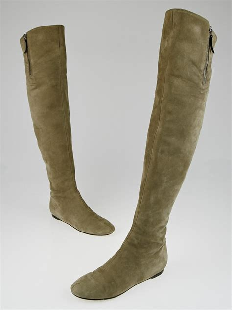 taupe the knee suede boots valentino taupe suede the knee flat boots size 6 5 37