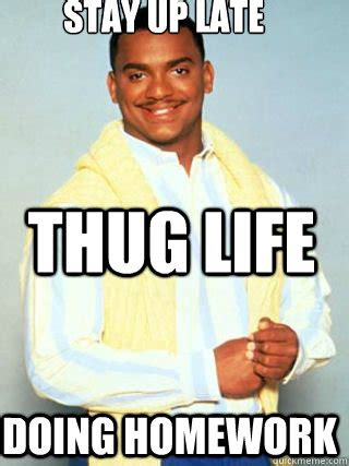 Happy Life Meme - stay up late doing homework thug life carlton happy