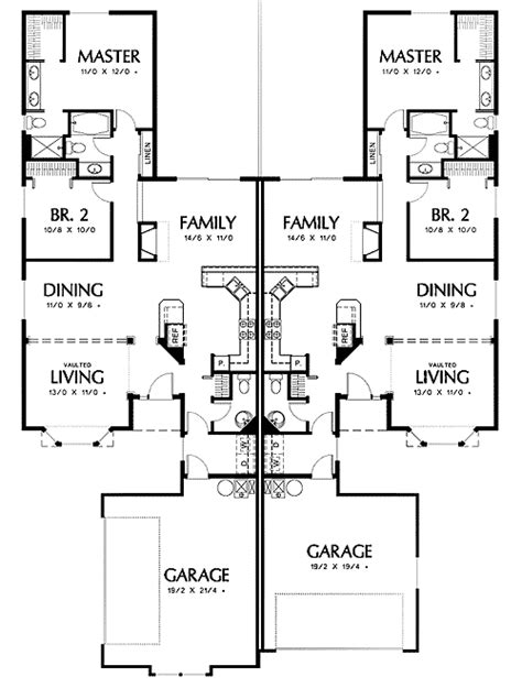 side garage floor plans duplex with side load garage in one unit 69392am 1st
