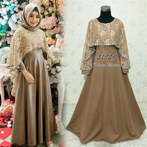 Baju Busana Muslim Untuk Pesta Iska Cape Maxi Dress jual gamis maxi dress cape bahan balotelli kombi brukat 2 warna di lapak sharim clothing khansa