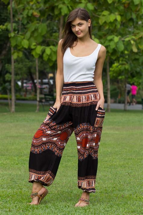 Comfy Import Bkk brown black pockets hippie thai thailand rayon printed rayon ethnic ethnic