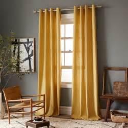 Yellow Linen Curtains Linen Cotton Grommet Window Panel Desert Marigold West Elm
