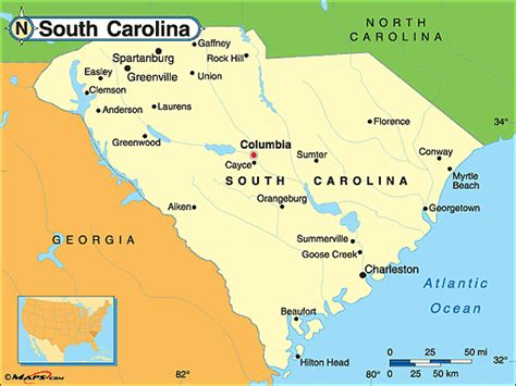 political map of south carolina south carolina political map by maps from maps
