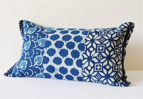 quilted cotton block printed indigo pillow cover beautiful
