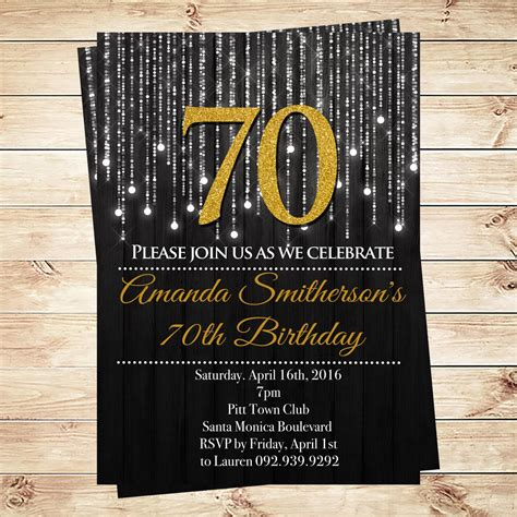 Black And Gold 70th Birthday Invitations By Diypartyinvitation 70th Birthday Invitation Templates