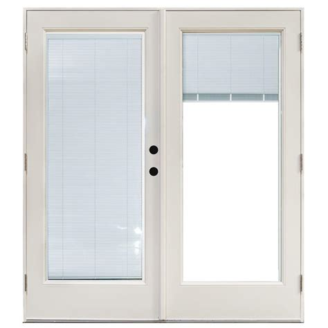 Masterpiece Patio Door Reviews Masterpiece 58 3 4 In X 79 1 4 In Fiberglass White Left Outswing Hinged Patio Door With