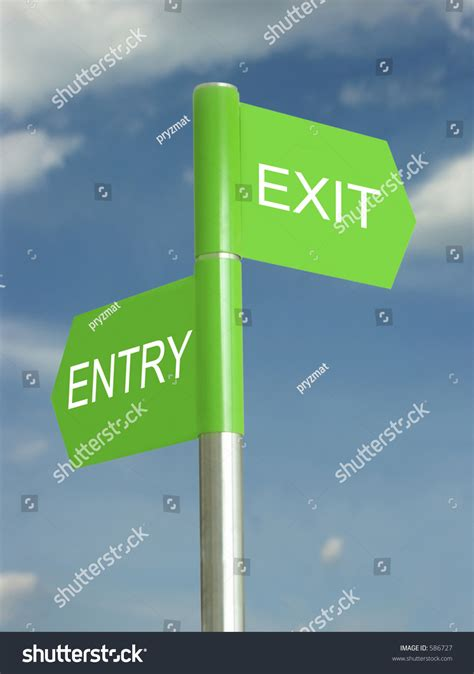 entry and exit entry and exit sign post 0924 25 e stock photo 586727