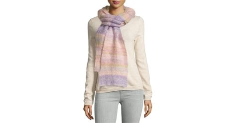 Selendang Michael Kors Original Mk Stripes Scarf Pink michael kors striped shaker scarf in pink lyst