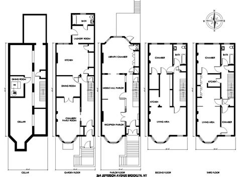 Philadelphia Row Home Floor Plan With Garage by Brownstone House Plans Container House Design