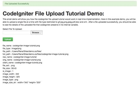 codeigniter demo site codeigniter file upload tutorial with php code exles