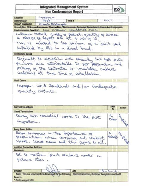 non conformance report template 100 non conformance report form template