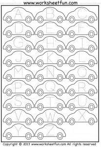 letter tracing worksheet car free printable worksheets