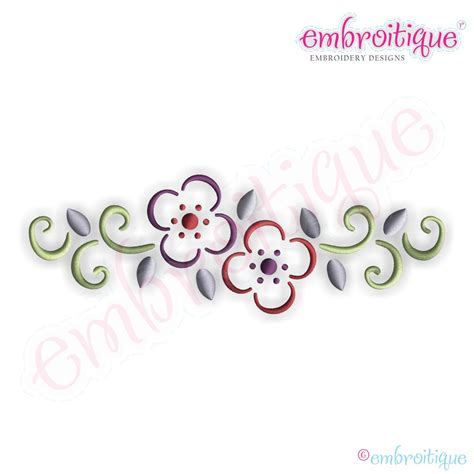 small designs embroitique curly floral border embroidery design small