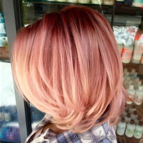 medium length hairstyles for straight hair rose gold layered bob 11 stunning rose gold hair color ideas highlights all