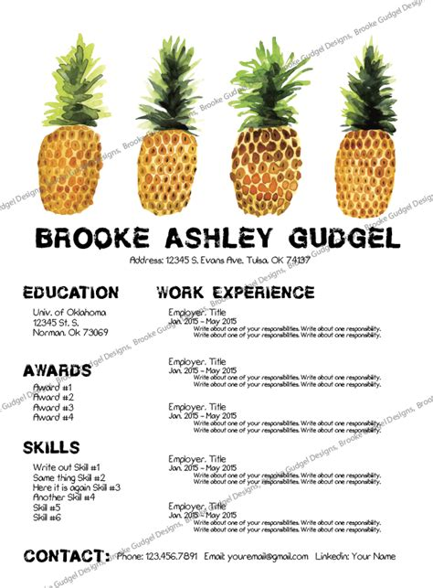 Sorority Resume Template by Sorority Resume Template Pineapple Resume Conact