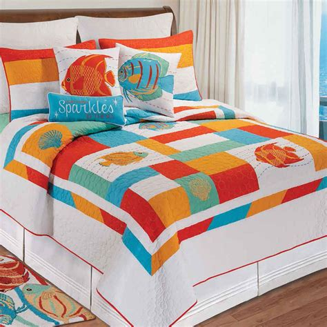 Colorful Bed Quilts by South Seas Colorful Fish Quilt Bedding