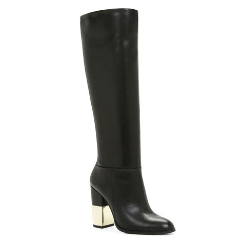 aldo vitaly metal heel knee high boot in brown lyst
