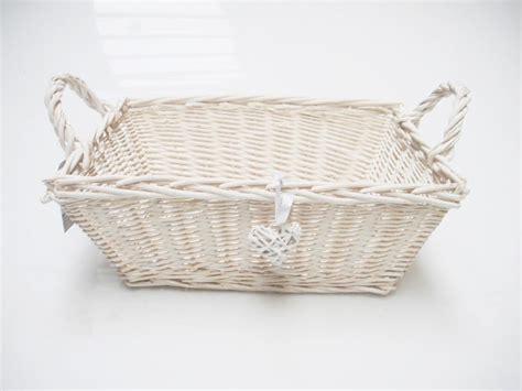 rectangle white french shabby chic wicker kitchen crafts bathroom storage basket ebay