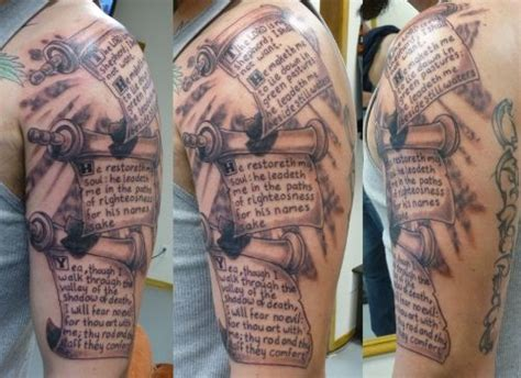 scroll cross tattoo scroll sleeve scriptures
