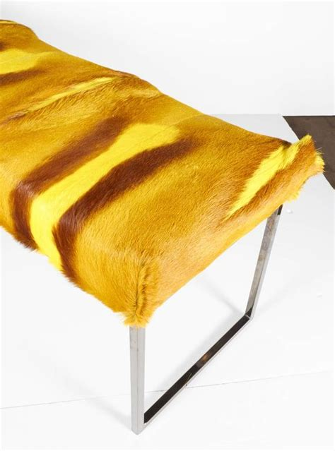 hues of yellow springbok fur bench in vibrant hues of yellow for