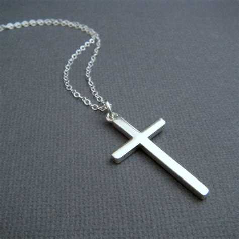 Cross Necklace silver cross necklace large sterling silver smooth modern