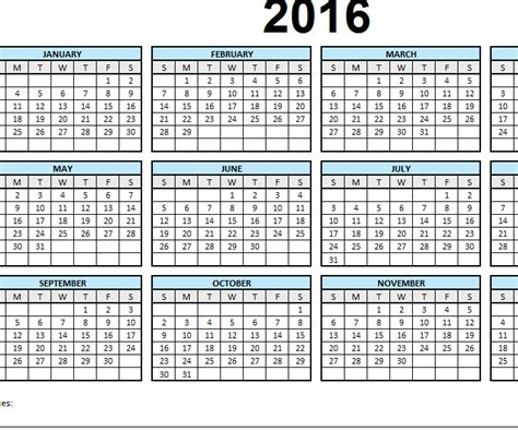2016 single page calendar my excel templates