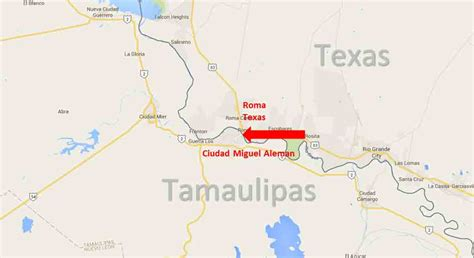texas mexico border map roma texas ciudad miguel aleman tamaulipas border crossing on the road in mexico